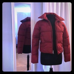 GUESS Red Puffy Down Jacket Sz S